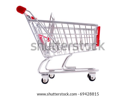 small metal shopping cart isloted on white