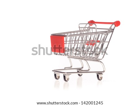 small metal shopping cart isolated on white - stock photo