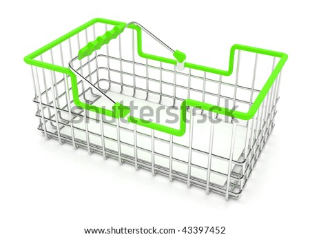 Small metal wire shopping basket, over white, isolated