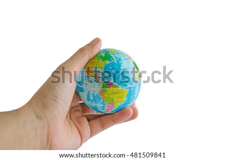 small model of the globe in the hand on a white background.World in hand
