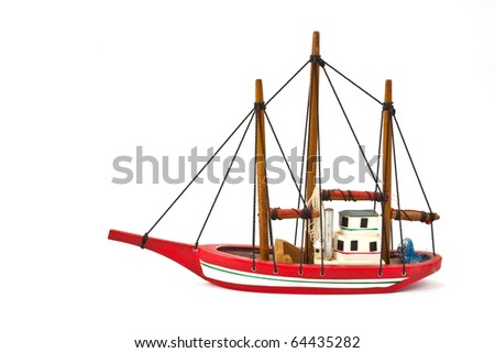 small model ship isolated on white background - stock photo