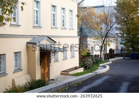 Small moscow yard with several buildings - stock photo