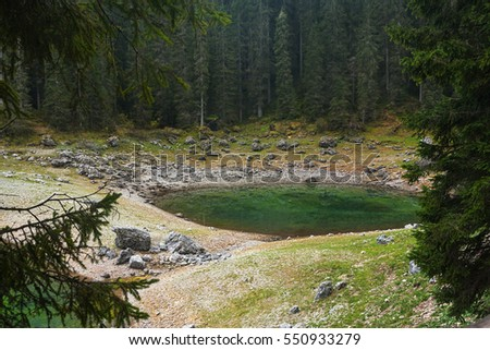 Small mountain lake on italian Alps.