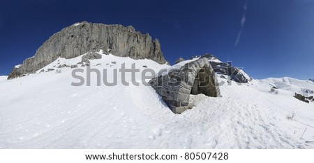 small mountain refuge in the valley of Lizara, Pyrenees,  Huesca, Aragon, Spain - stock photo