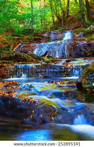 small mountain river - stock photo