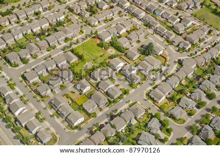 Small neighborhood in urban area - stock photo