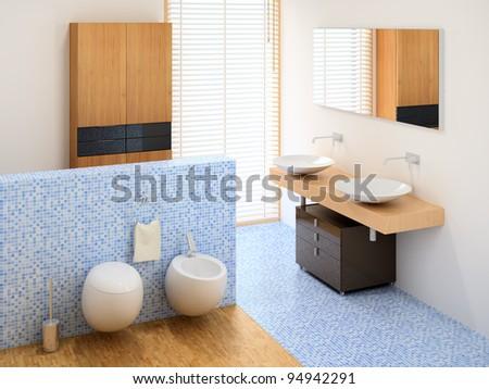 small new bathroom including wardrobe, basins and toilet - stock photo
