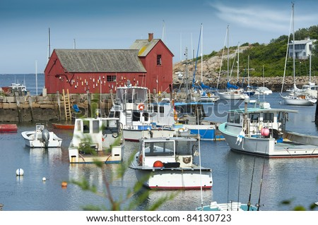 Small new england harbor of a lobster fishing town - stock photo