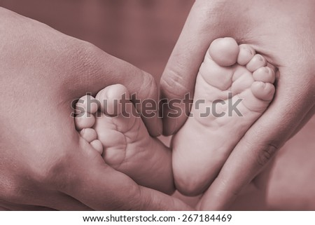 Small newborn baby legs in mothers lovely hand with soft focus on babie's foot