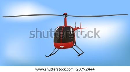 Small News or Traffic Helicopter Raster Illustration