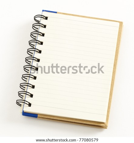 Small notebook isolated on white background, double spiral binding - stock photo