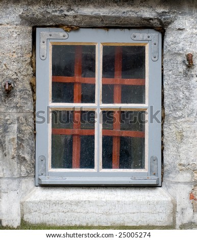 Small Old Cellar WIndow with Metal Corners