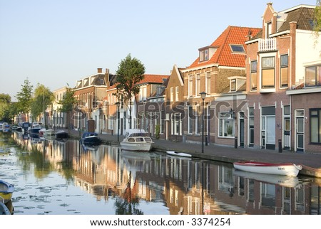 Small old dutch city center - stock photo