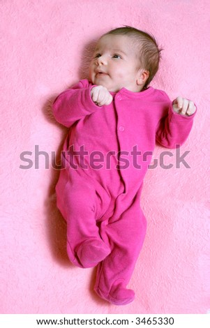 small one week old newborn baby expressions - stock photo