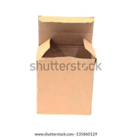 Small open cardboard box isolated on white background - stock photo