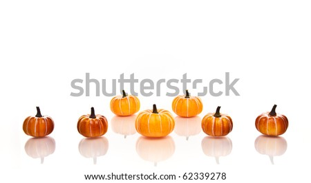 Small orange pumpkins in rows on a white background. - stock photo