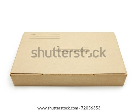 Small packet of brown card board box with address and sender space.�isolated on white. - stock photo