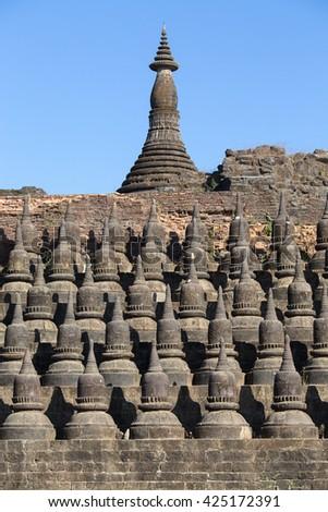 Small pagodas at Kothaung Temple, Mrauk U , Rakhine state , Myanmar, Burma - stock photo