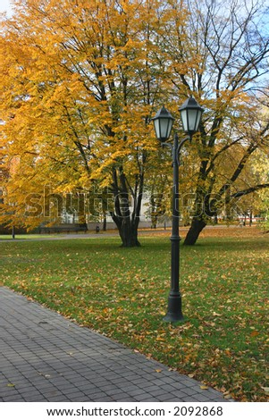 Small park in the center of the Riga (Latvia)