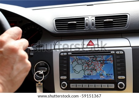 Small part of car dashboard with gps