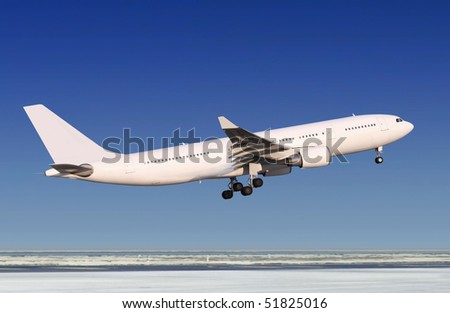 small passenger airplane is landing to runway of airport - stock photo