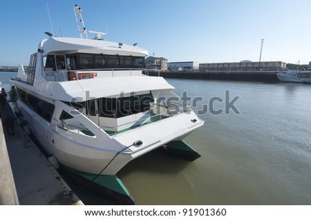 small passenger boat moored in the port, Puerto de Santa maria, Cadiz, Andalusia, Spain - stock photo