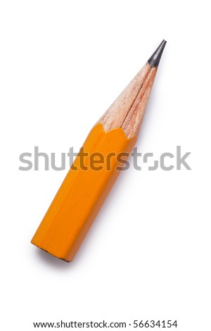 small pencil on white background - stock photo