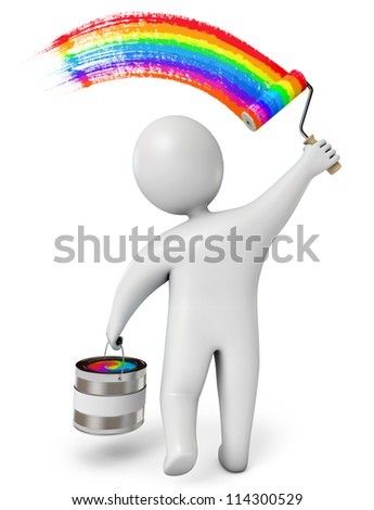 Small person draws a rainbow. Isolated on white background. 3d render - stock photo