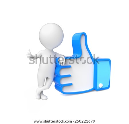 Small person showing thumb up - stock photo