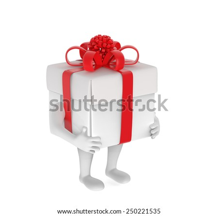 Small person with box-gift instead of head - stock photo
