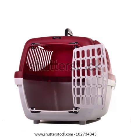 Small pet travel cage isolated