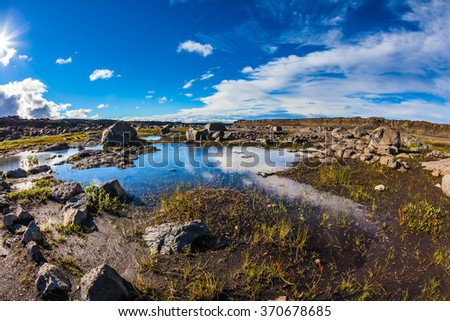Small picturesque puddle in which the blue sky is reflected. The picture is made lens Fish eye