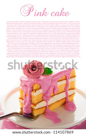 Small piece of three layer vanilla cake with cream and strawberry frosting. Pink rose as decoration on the top. White background - stock photo