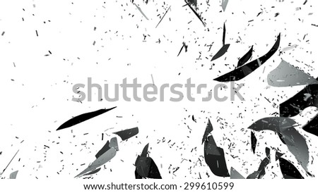 Small Pieces of splitted or cracked glass on white. Large resolution - stock photo