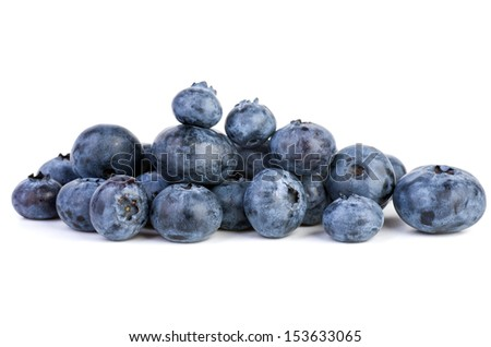 Small pile of bilberries on the white background - stock photo