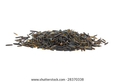 Small pile of black wild rice isolated on the white background