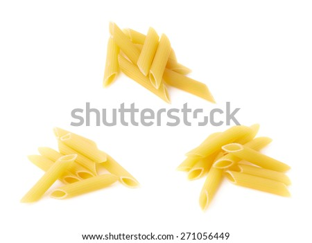 Small pile of dried yellow penne pasta isolated over the white background, set of three different images - stock photo
