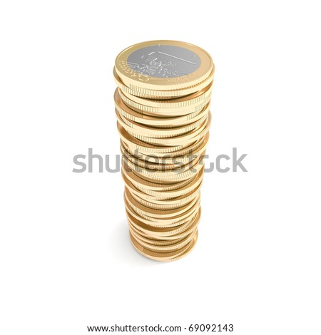 Small pile of Euro coins - stock photo