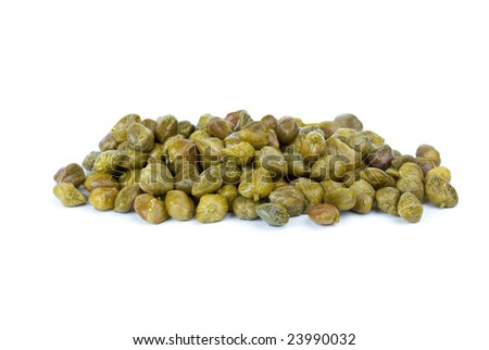 Small pile of marinated capers isolated on the white background