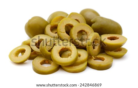Small pile of sliced green olives isolated on the white background - stock photo