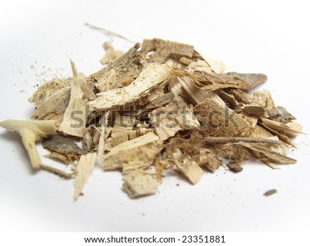 Small pile of wood chips used as mulch or fuel - stock photo