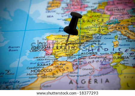 Small pin pointing on Madrid (Spain) in a map of Europe - stock photo