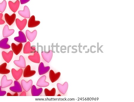 small pink valentine velvet hearts on white background - stock photo