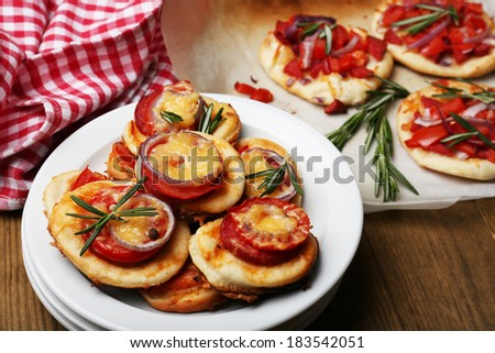 Small pizzas close up - stock photo