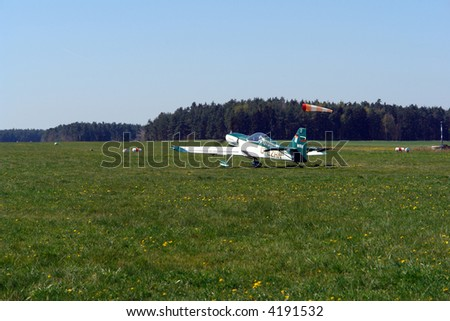 small plane ready for take off - stock photo