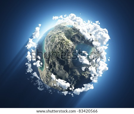 Small planet with oceans and mountains - stock photo
