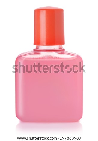 Small plastic bottle of shampoo isolated on white - stock photo