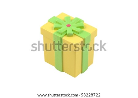 Small plastic fake gift box - stock photo