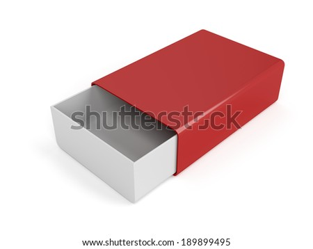 Small plastic sliding box on white background - stock photo