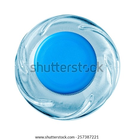 Small plastic water bottle, top view - stock photo
